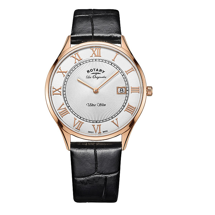Rotary Ultra Slim Men's Rose Gold Plated Strap Watch - Product number 5220742