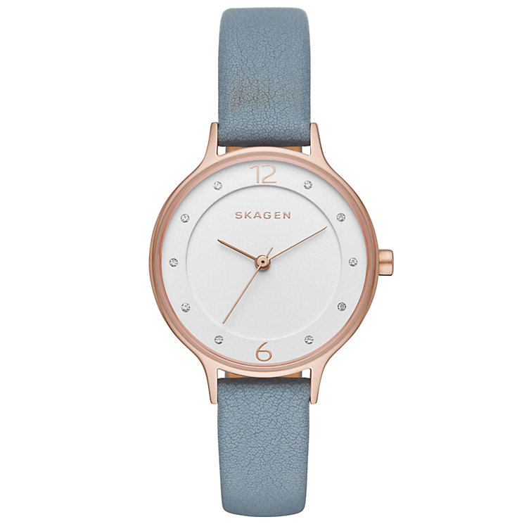 Skagen Ladies' White Dial Blue Leather Strap Watch - Product number 5220750
