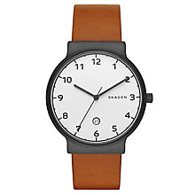 Skagen Men's White Dial Brown Leather Strap Watch - Product number 5220785