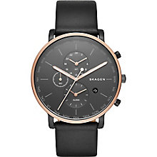 Skagen Men's Multi Dial Black Leather Strap Watch - Product number 5220793