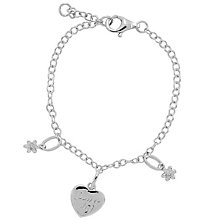 Diamond Wishes Sterling Silver Flower Girl Charm Bracelet - Product number 5220882