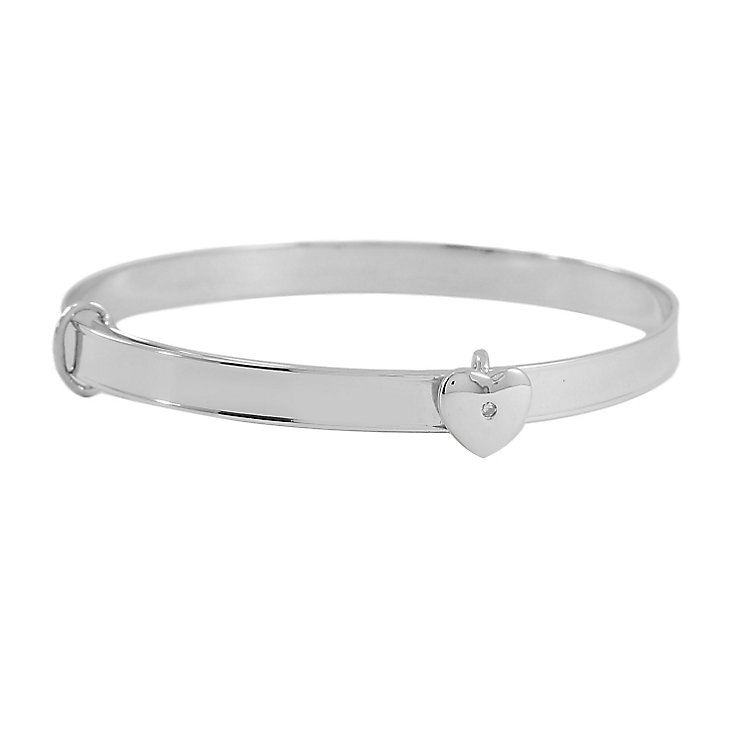 Diamond Wishes Silver Diamond-set Heart Expander Bangle - Product number 5220904