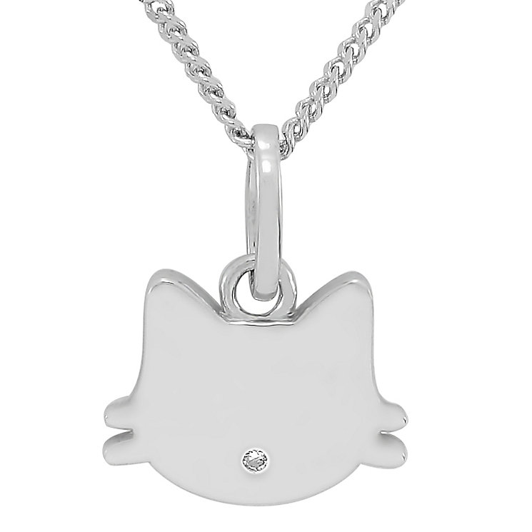 Diamond Wishes Sterling Silver Diamond-set Kitten Pendant - Product number 5220939