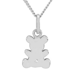 Diamond Wishes Silver Diamond-set Teddy Bear Pendant - Product number 5220955