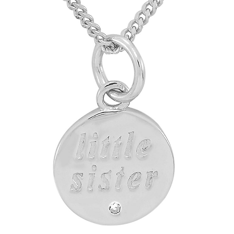Diamond Wishes Silver 'Little sister' Circle Pendant - Product number 5221048