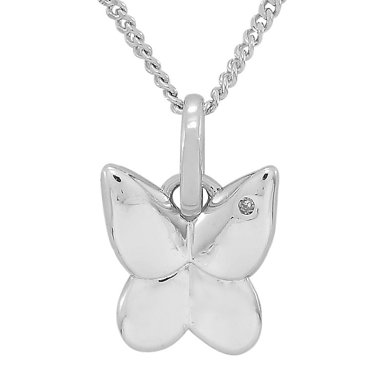Diamond Wishes Sterling Silver Diamond-set Butterfly Pendant - Product number 5221080