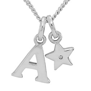 Diamond Wishes Children's Silver 'A' Pendant with Star Charm - Product number 5221099