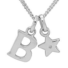 Diamond Wishes Children's Silver 'B' Pendant with Star Charm - Product number 5221102
