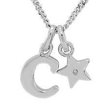 Diamond Wishes Children's Silver 'C' Pendant with Star Charm - Product number 5221110