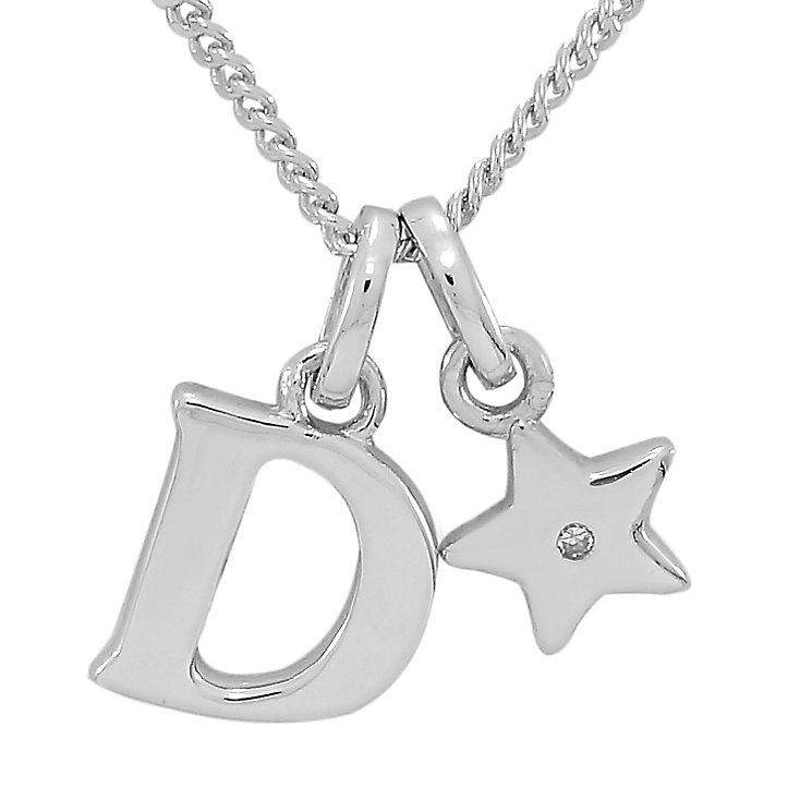 Diamond Wishes Children's Silver 'D' Pendant with Star Charm - Product number 5221129