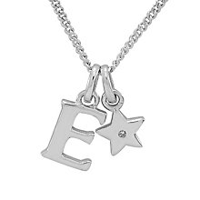Diamond Wishes Children's Silver 'E' Pendant with Star Charm - Product number 5221137