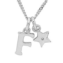 Diamond Wishes Children's Silver 'F' Pendant with Star Charm - Product number 5221145
