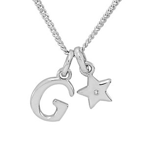 Diamond Wishes Children's Silver 'G' Pendant with Star Charm - Product number 5221153