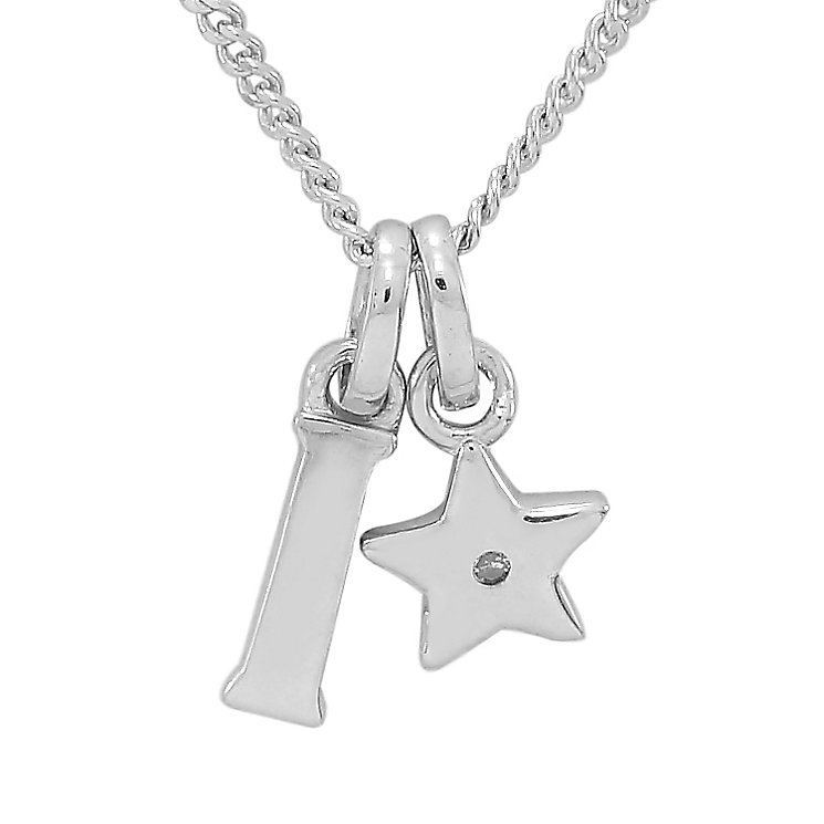 Diamond Wishes Children's Silver 'I' Pendant with Star Charm - Product number 5221188