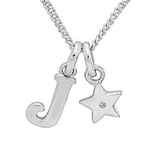 Diamond Wishes Children's Silver 'J' Pendant with Star Charm - Product number 5221196