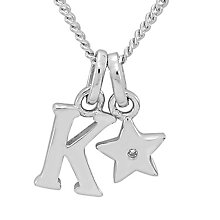 Diamond Wishes Children's Silver 'K' Pendant with Star Charm - Product number 5221218
