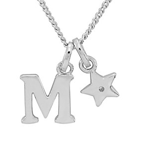 Diamond Wishes Children's Silver 'M' Pendant with Star Charm - Product number 5221234