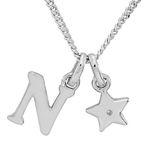 Diamond Wishes Children's Silver 'N' Pendant with Star Charm - Product number 5221242