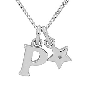 Diamond Wishes Children's Silver 'P' Pendant with Star Charm - Product number 5221269