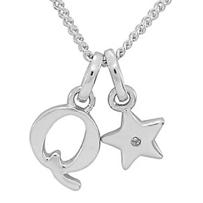 Diamond Wishes Children's Silver 'Q' Pendant with Star Charm - Product number 5221277