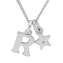 Diamond Wishes Children's Silver 'R' Pendant with Star Charm - Product number 5221285