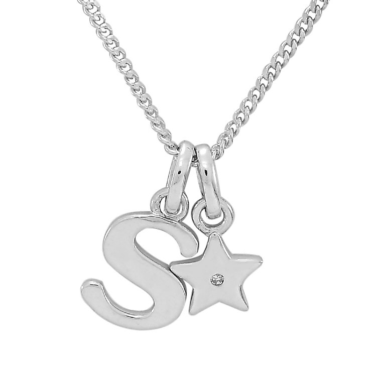 Diamond Wishes Children's Silver 'S' Pendant with Star Charm - Product number 5221293