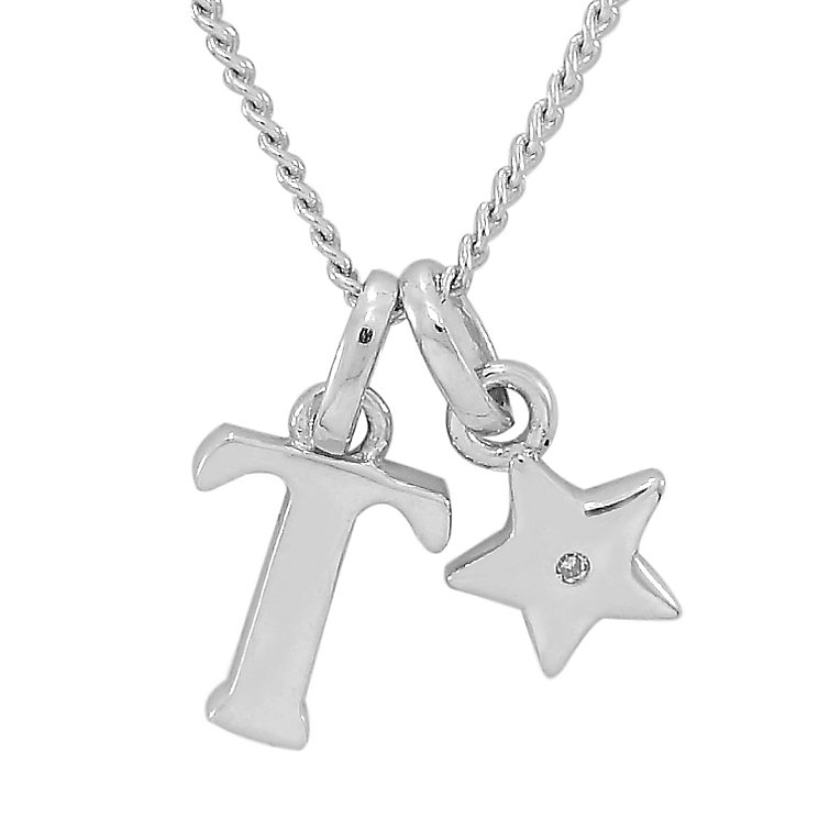 Diamond Wishes Children's Silver 'T' Pendant with Star Charm - Product number 5221307
