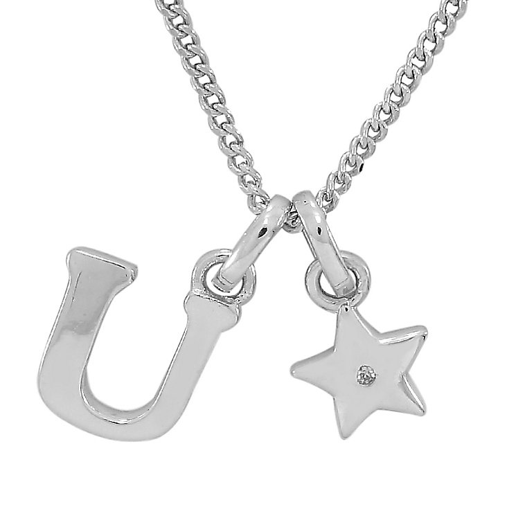 Diamond Wishes Children's Silver 'U' Pendant with Star Charm - Product number 5221315