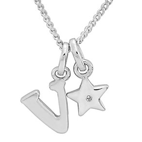 Diamond Wishes Children's Silver 'V' Pendant with Star Charm - Product number 5221323