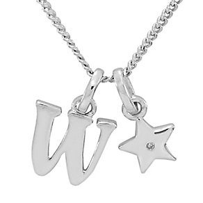 Diamond Wishes Children's Silver 'W' Pendant with Star Charm - Product number 5221331