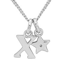 Diamond Wishes Children's Silver 'X' Pendant with Star Charm - Product number 5221358
