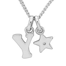 Diamond Wishes Children's Silver 'Y' Pendant with Star Charm - Product number 5221366