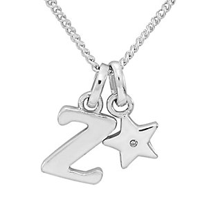 Diamond Wishes Children's Silver 'Z' Pendant with Star Charm - Product number 5221374