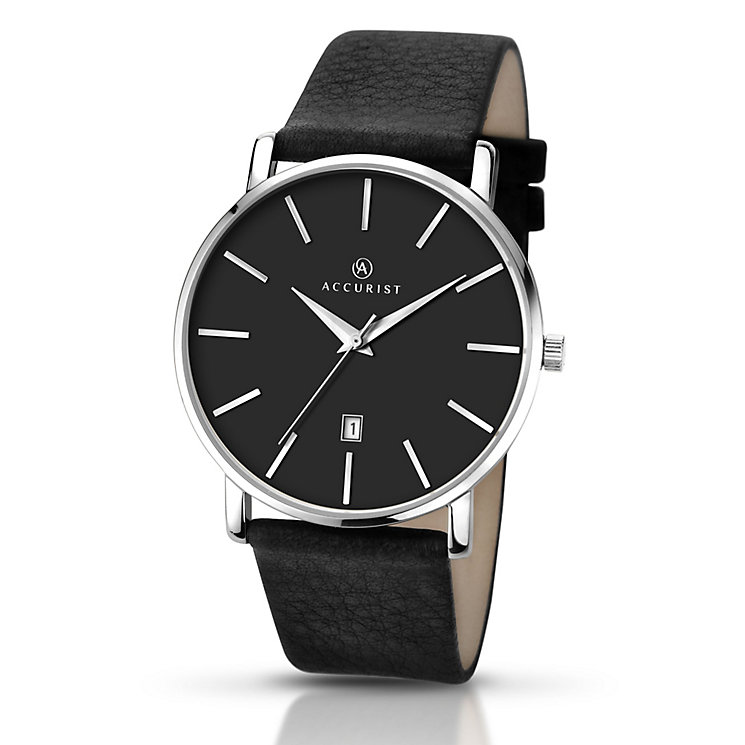 Accurist Men's Black Dial Black Leather Strap Watch - Product number 5221633
