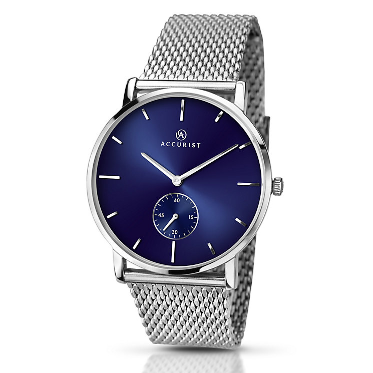 Accurist Men's Blue Dial Stainless Steel Mesh Strap Watch - Product number 5221641