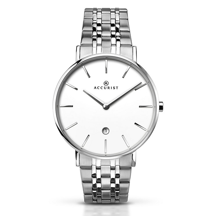Accurist Men's White Dial Stainless Steel Bracelet Watch - Product number 5221684