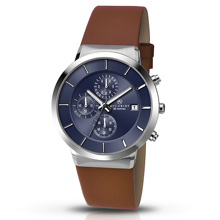 Accurist Men's Blue Dial Brown Leather Strap Watch - Product number 5221692