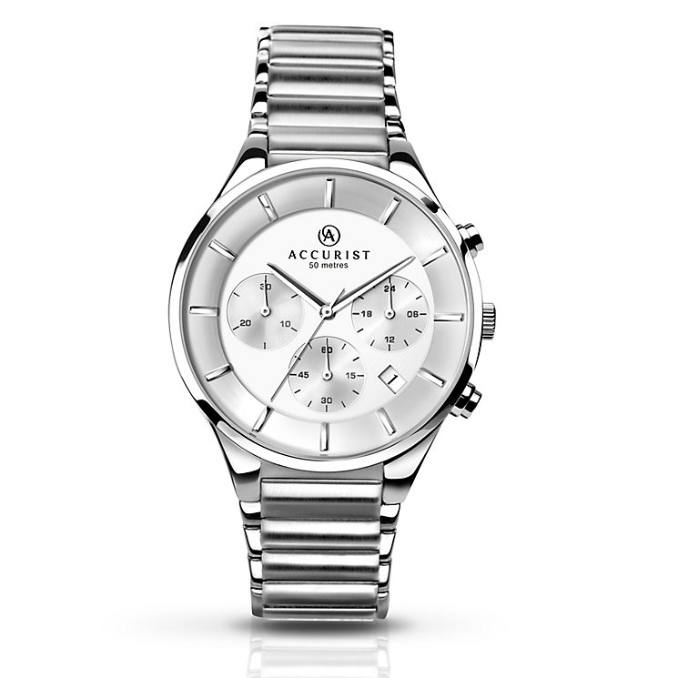 Accurist Men's White Dial Stainless Steel Bracelet Watch - Product number 5221714