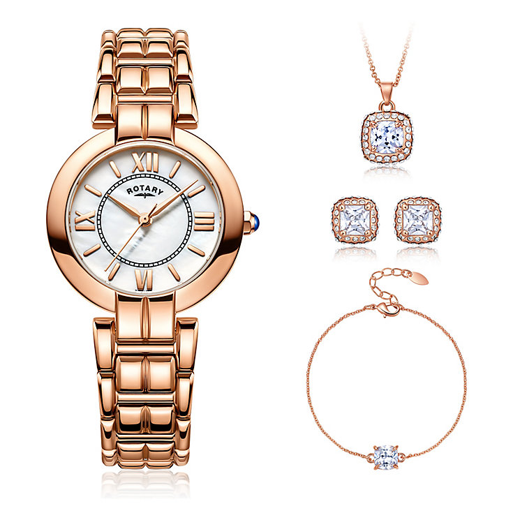 Rotary Ladies' White Mother Of Pearl Watch & Jewellery Set - Product number 5221986