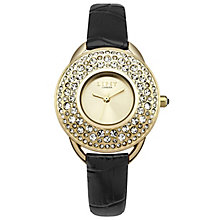 Lipsy Ladies' Stone Set Black PU Strap Watch - Product number 5225639