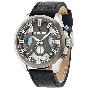 Police Cyclone Men's Silver Dial Brown Leather Strap Watch - Product number 5225752