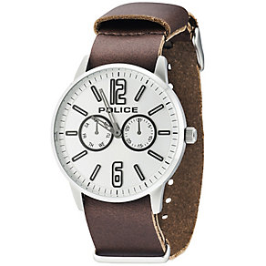 Police Esquire X Men's Silver Dial Brown Leather Strap Watch - Product number 5225795