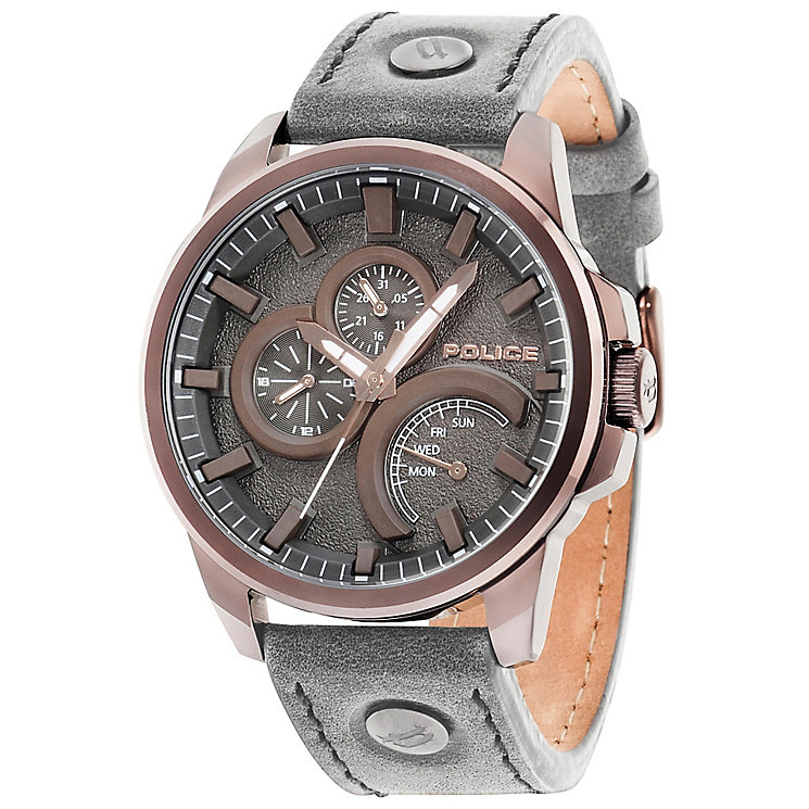 Police Navigator Men's Grey Dial Grey Leather Strap Watch - Product number 5225817
