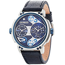 Police Gent's Blue Leather Strap Watch - Product number 5225868