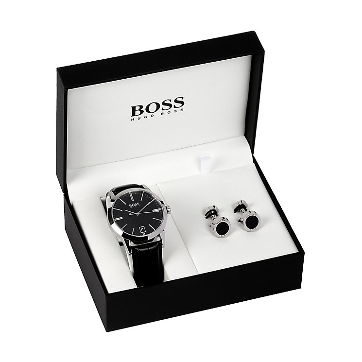 Hugo Boss Men's Strap Watch & Cufflink Gift Set - Product number 5231329
