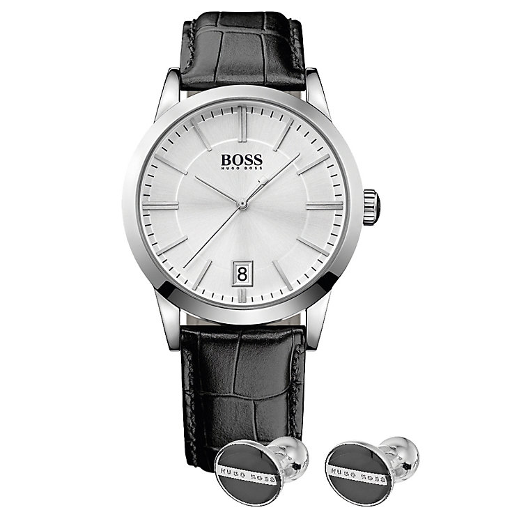 Hugo Boss Men's Strap Watch & cufflink Gift Set - Product number 5231345