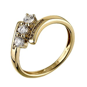 9ct Two Colour Gold Three stone Cubic Zirconia Ring