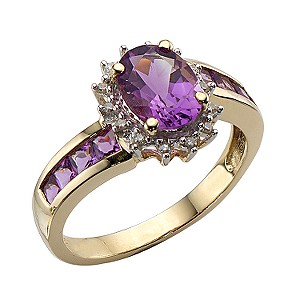 9ct Gold Amethyst and Diamond Ring - Product number 5235030