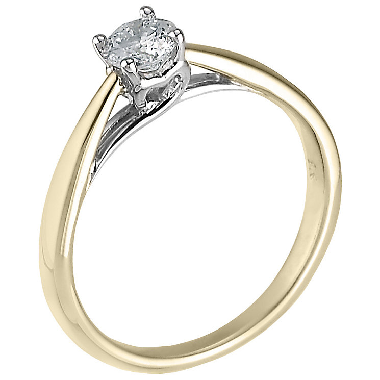 9ct Yellow gold 0.33ct carat diamond solitaire ring - Product number 5238439