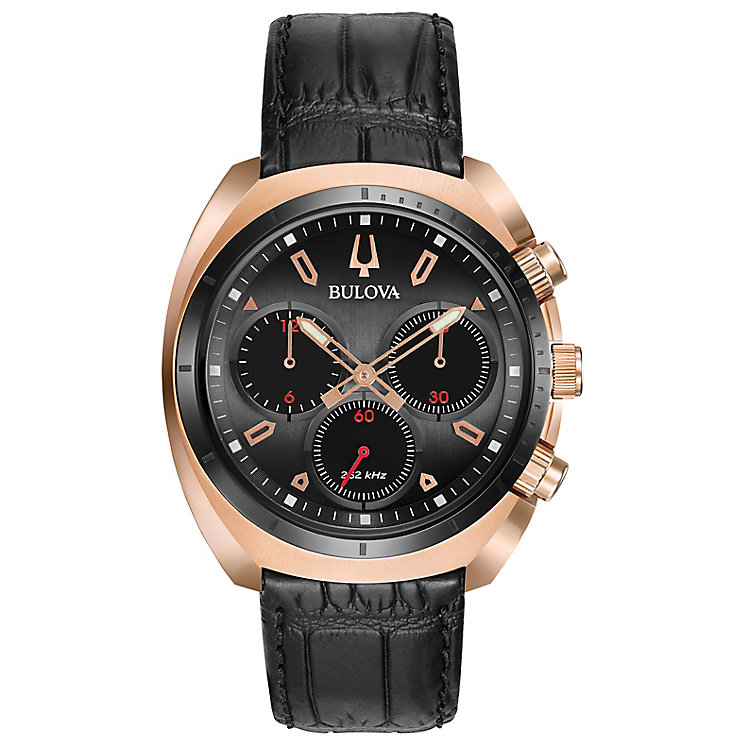 Bulova Curv Men's Chronograph Rose Gold Plated Strap Watch - Product number 5239923